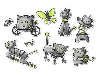 Cat Robot Stickers, Paper Stickers, Journaling, Sticker Flakes, Stationery, Scrapbooking, Cute Cats, Robot Stickers, Funny Robots, Funny Cat