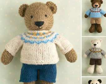 Toy knitting pattern for a boy bear with a Fair Isle sweater and shorts