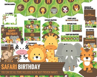 Safari Birthday Decorations Package. Printable Jungle Theme Kids Birthday Party Decor. Funny Gender Neutral First Birthday. Digital Download