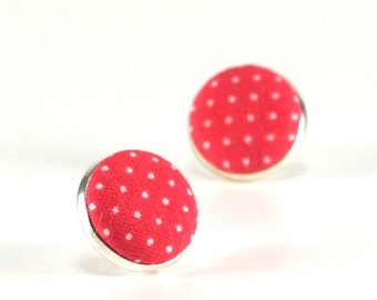 Pink Stud Earrings, Coral Pink Polka Dots Earring Studs, Bright Pink, Fabric Covered Buttons, Silver Toned Earrings, Posts, Girl Jewelry