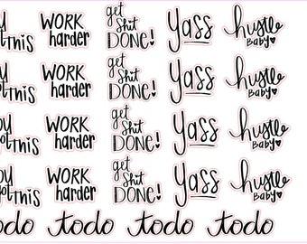 Hand Lettering Stickers-Motivational Sampler
