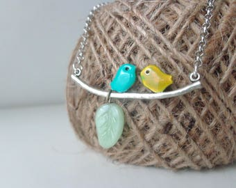 Love birds necklace, mint bird necklace, yellow bird necklace, leaf necklace, silver nature necklace, branch necklace