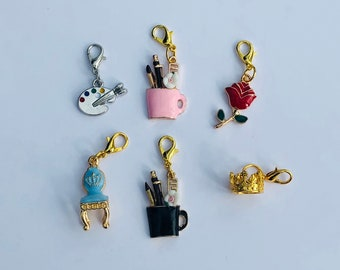 Planner charms - Planner accessories - cute charms - stationary - Rose - Chair - Rabbit - Alice in wonderland - Crown - Artist palette UK