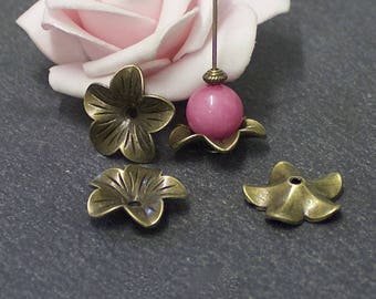 x 10 metal flower bead caps antique bronze 18 x 17 mm CPB21