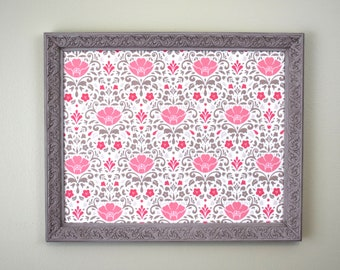 Magnet Board with Ornate Gray Frame and Pink Flower Background - Magnetic Bulletin Board - Vision Board - Memo Board - Office Organizer