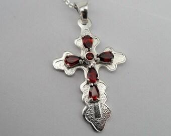 925 silver cross, Garnet silver pendant, 925 Sterling Silver Garnet Cross Pendant, Free shipping (d 404)
