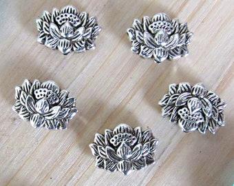 Lotus silver beads, set of 5, silver lotus, Lotus charm, lotus pendant, lotus flower, flower beads, us seller, tiny lotus, yoga beads