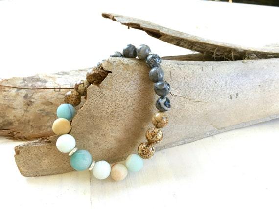 Jasper And Amazonite Mixed Mala Bracelet, Gemstone Stretch Bracelet, Boho Chic Stone Jewelry, Trending Stacking Bracelet, Yoga Inspired