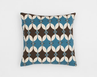 Selin Handscreen Printed Cushion Cover - Teal Blue / Chocolate Brown 40x40cm