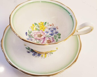 Vintage Tea Cup and Saucer /ROYAL ALBERT Bone China Green Trim with delicate Blossoms Vintage Tea Party / Collectable teacup/Pink flowers