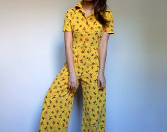 Vintage Jumpsuit Women 80s Novelty Print Jumpsuit Pockets Teddy Bear Print Yellow Jumpsuit Corduroy One Piece Romper -  Small S
