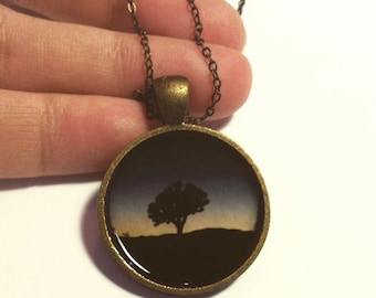 Joshua Tree Pendant Necklace, Joshua Tree in a Deep Blue Sunset,Photo jewelry