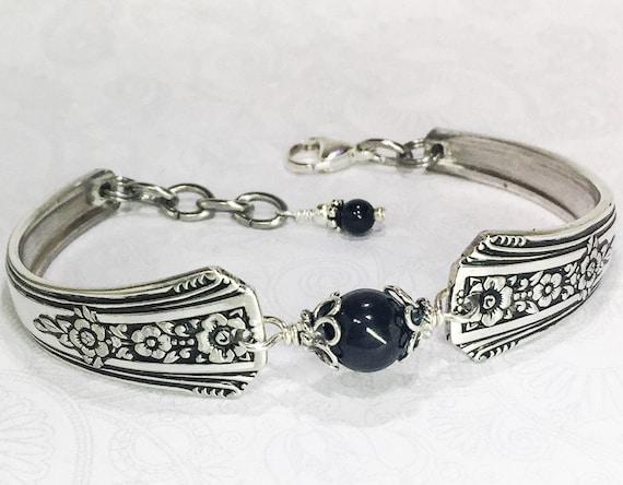 Vintage Spoon Bracelet, Spoon Jewelry, Black Onyx Gemstone 'Fortune' 1939