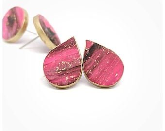 Hot pink earrings pink and black studs teardrop studs polymer clay earrings light weight earrings pink studs hot pink studs faux stone