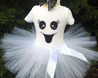 Baby Girl Ghost Costume - Ghost Tutu Outfit - Girls Ghost Costume - Baby Girl Halloween Costume