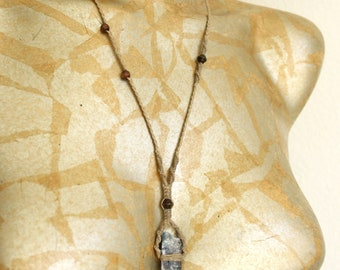 Raw Blue Kyanite Crystal & Waxed Cord Macrame Necklace