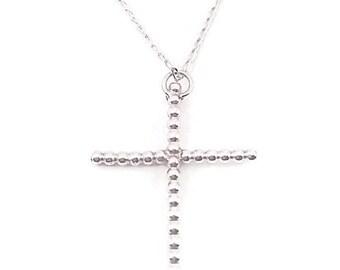 Cross Pendant Necklace - Pearl Silver Pendant - Holly Cross pendant & Necklace - Holly Cross Necklace - Silver Cross Necklace