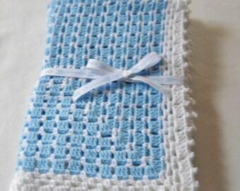 Baby Afghan, Crocheted Baby Afghan, Blue Afghan