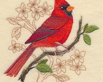 Cardinal Towel - Bird Towel  - Embroidered Towel - Flour Sack Towel - Hand Towel - Bath Towel - Apron