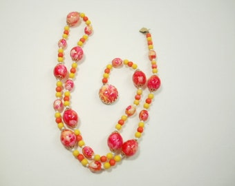 Vintage Necklace, Hong Kong Olive Bead Long Necklace, Hot Pinks, Yellow, White Beads
