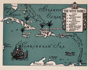 Vintage CARIBBEAN Picture Map Caribbean Print 1940s Pictorial Cartoon Map Travel Map Gallery Wall Art Gift for Boyfriend Birthday Gift