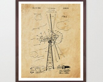 Wind Turbine Patent Poster - Wind Turbine Poster - Wind Turbine Art - Renewable Energy - Green Energy - Energy Poster - Electricity - Wind
