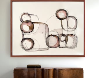 Original large size abstract ink drawing - Ink art painting modern stones circles wall art decor geometric linear abstract structural forms