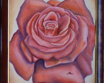 Rose oil painting