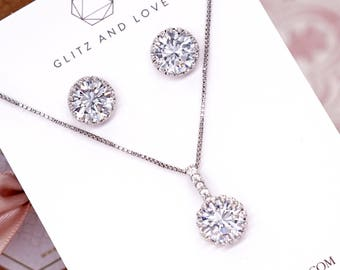 Wedding Bridesmaid Gift Bridal Earrings Necklace Bracelet Jewelry Set Clear White Cubic Zirconia Round Ear Stud Earrings E315 B91