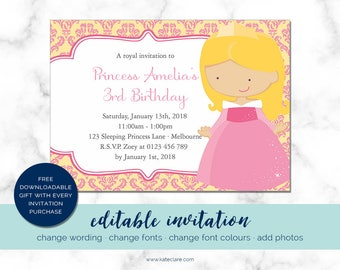 Editable Princess Invitation Template - Princess Invitation - Princess Bday Ideas - Royal Princess - Princess Invitations for Baby Shower