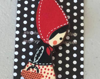 Wooden brooch- red riding hood