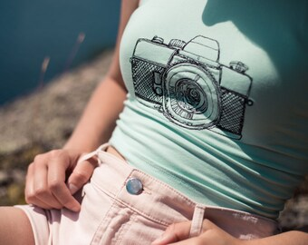 Vintage Camera Crop Top-Hipster Crop Top-Yoga Crop Top-Workout Clothes-Yoga Clothing