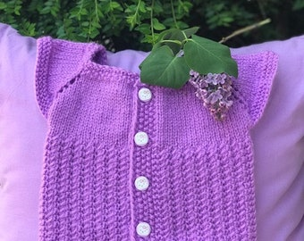 Baby girl knitted in modern lilac color vest