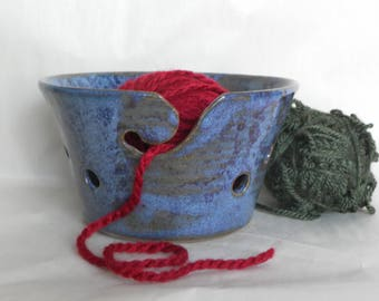 Blue and Purple Yarn Bowl for Knitting and Crocheting