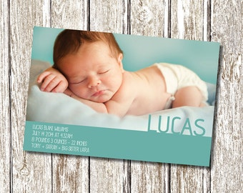 Baby announcement Birth Notice Card Design - Blue  -  Printable and Personalised