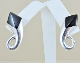 """Sterling Silver And Black Onyx Earrings 1 1/4"""""""