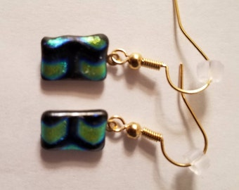 Multi-colored glass fused dangle earrings, gold plated hooks