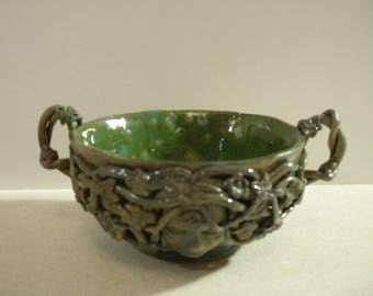 Pagan, Wicca, , Mother Earth Offering Bowl, Earth Mother, Handcrafted Ceramic
