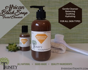 African Black Soap Facial Cleanser // Face Wash // All Natural and Chemical Free // Moisturizing and Healing // Balancing // Cruelty Free