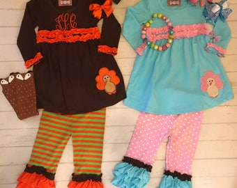 75% Off! thanksgiving outfit/dress,Toddler-girl Brown/orange ruffled pants and top with turkey applique, ready to ship