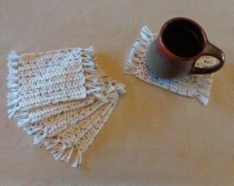 """Crochet Coasters, Crochet Mug Rugs, Coaster Set, Cotton Coasters, Coffee Coaster Set, Cotton Mug Rugs, Cotton Coaster Set, """"Salt and Pepper"""""""