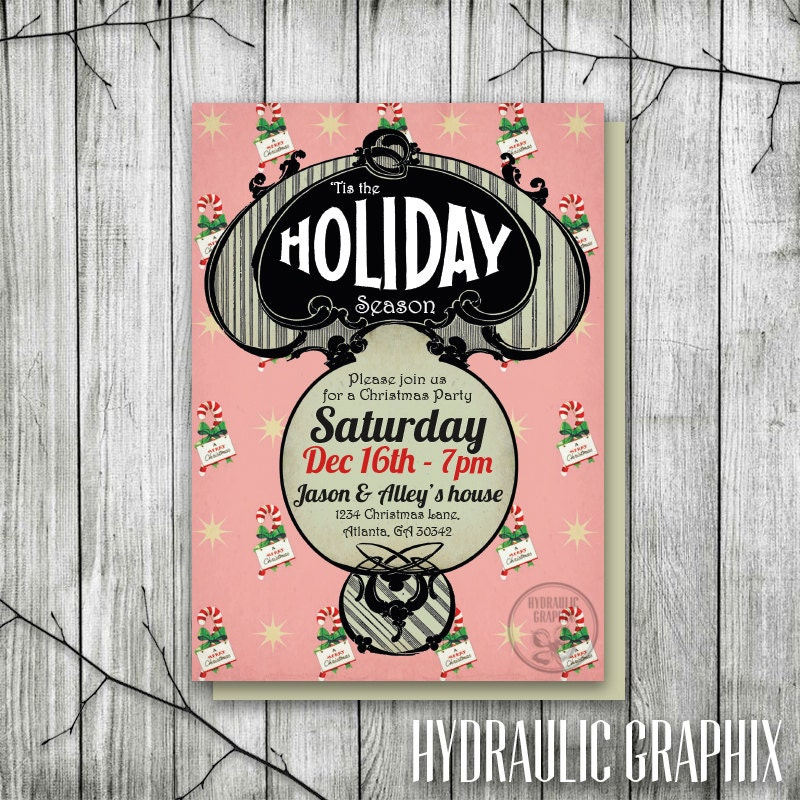 Retro Christmas Party Invitation Vintage Holiday Party