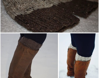 Brown/Cream Reversible Women's Knit Boot Cuffs
