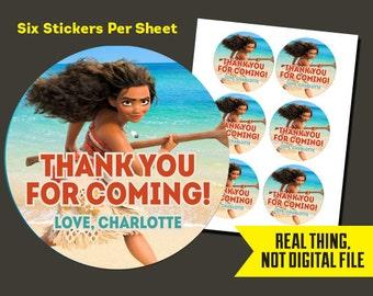 Moana Stickers   Moana Birthday - Moana Thank You StickersPrinted