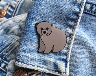 Bear Enamel Pin, Bear Pin Badge, Bear Pin, Bear Enamel Pin Badge, Brown Bear Badge, Bear Lapel Pin, Bear Gift, Brown Bear, Bear Accessory