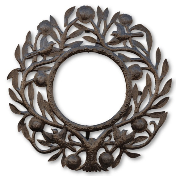 Flower Tree Frame, Haitian Quality Metal Art, One-of-a-Kind Frame, 23.5x23 (Mirror Not Included)