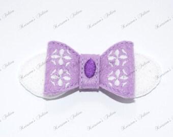 UNCUT 3D bow, Sophia embroidered felt embellishment feltie