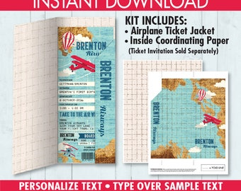 Boarding Pass JACKET for Invitation , Airline Ticket Cover, Travel, Airplane Party,Aviator Birthday,Map - DIY Instant Download PDF Printable