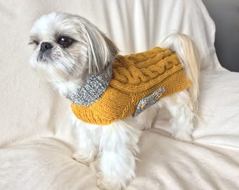 Small dog sweater, dog sweater, wool dog sweater, knitted dog sweater, dog coat, pet clothes, knitted dog clothes, medium dog sweater