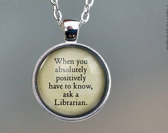 Librarian (Ask) Quote jewelry. Pendant, Necklace or Keychain Key Ring. Perfect Gift Present. Glass dome phrase words charm HomeStudio